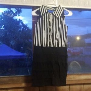 Black and white stripes dress with lace on it